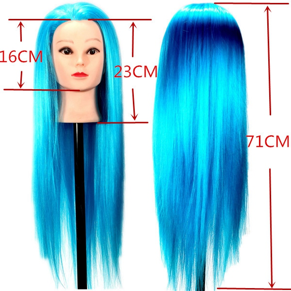 Blue Synthetic Hair Hairdressing Training Mannequin Head