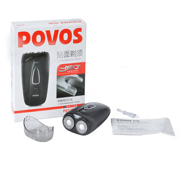 POVOS PQ3202 Dual-blade Rotary Heads Electric Rechargeable Beard Razor
