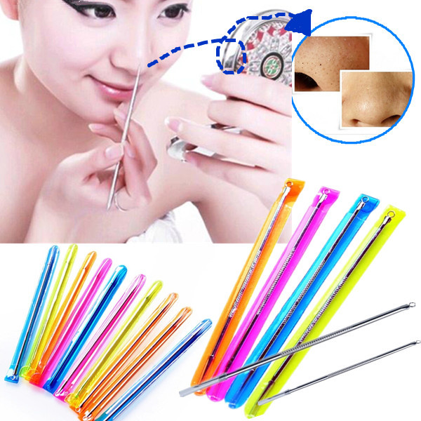4Pcs 8cm Stainless Acne Blackhead Pimple Extraction Needle Removal Pin