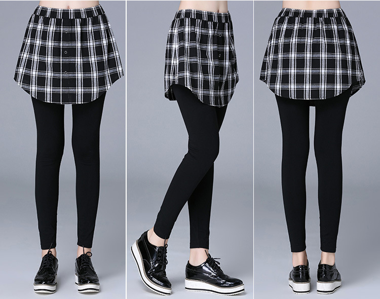 Casual Women Plaid Elastic Waist Fake Two-piece Culottes Pants
