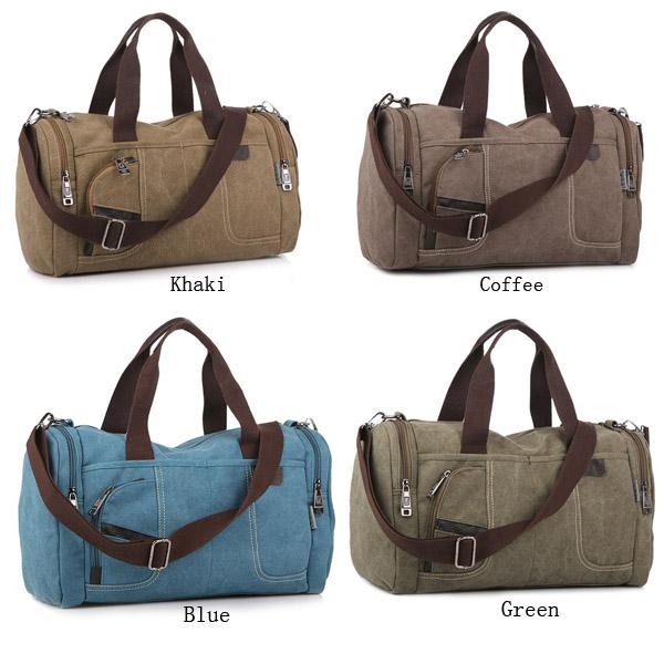 Men Bag, Canvas Casual Travel, Outdoor Big Khaki, Coffee Handbag Crossbody Bag