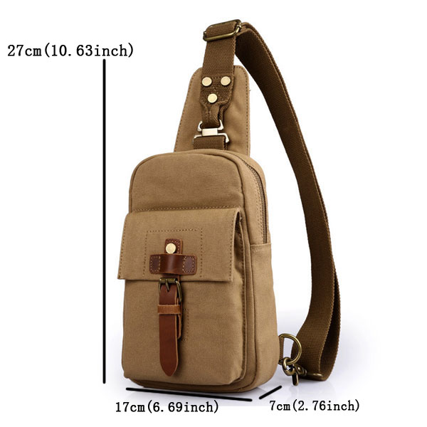 Men Bag, Canvas Casual Outdoor, Black Army Green, Sport Crossbody Chest Bag