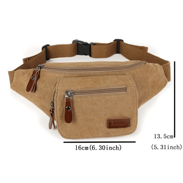 Men Bag, Casual Sport Canvas, Khaki Coffee Bag, Crossbody Chest Bag