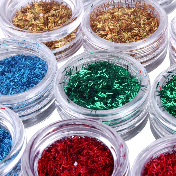 12PCS Mixed Colors Nail Art Glitter Powder Shell Bead Decoration