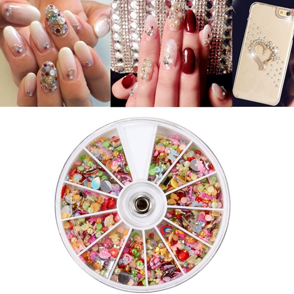 3D Star Flower Multi-Style Rhinestones Acrylic Nail Art Decoration Wheel