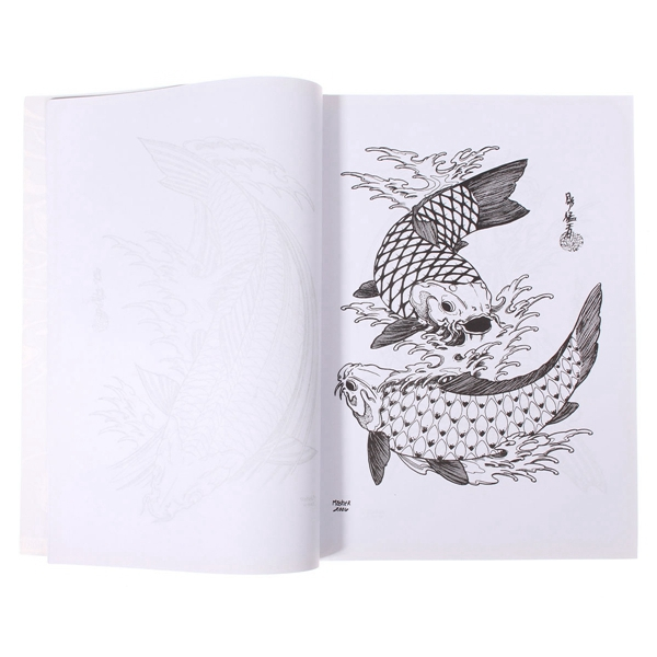 51 Pages Different Fish Design Skeleton Tattoo Art Manuscript Book Sketch