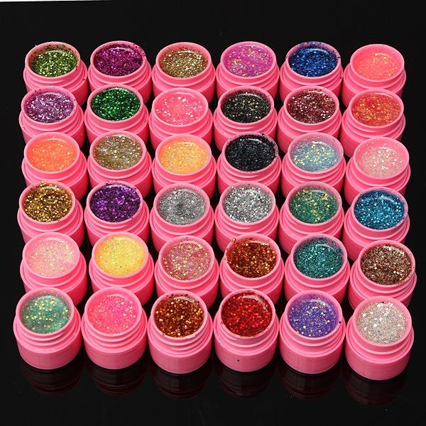 36 Colours Shining Glitter Acrylic UV Gel Builder Polish