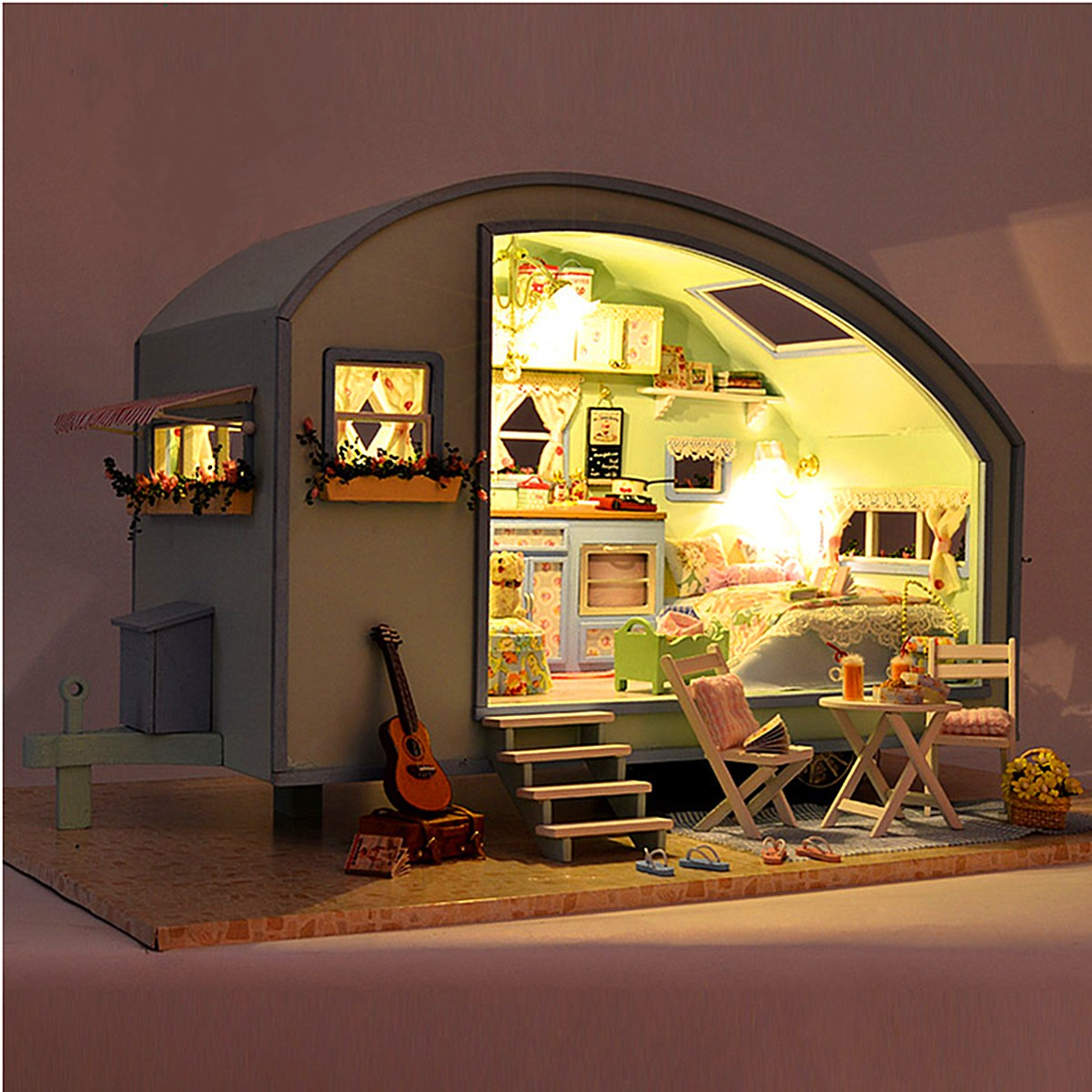 DIY Wooden Dollhouse Miniature Kit Doll house LED+Music+Voice Control