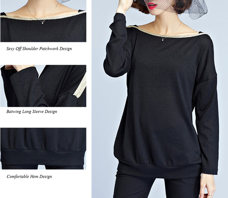 Casual Women Brief Batwing Sleeve Patchwork Autumn T-shirt