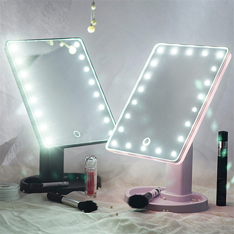 1 X Tabletop LED Lighted Makeup Mirror. 16 LED Light Touch Screen Cosmetic Mirror Makeup Tool Adjustable