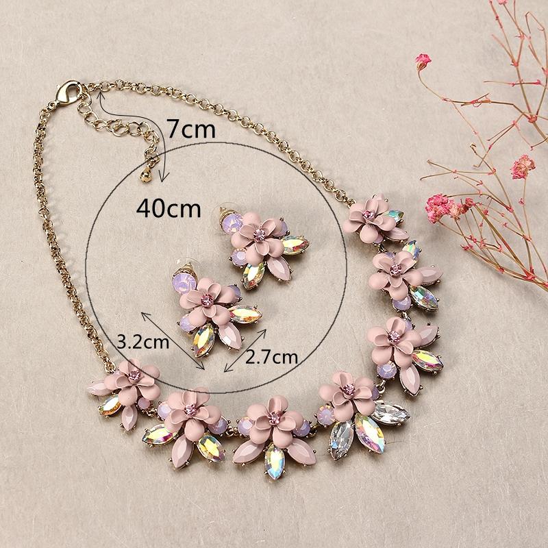 JASSY® Sweet Pink Flower Set de bijoux élégant cristal coloré boucles d'oreilles collier pour les femmes cadeau