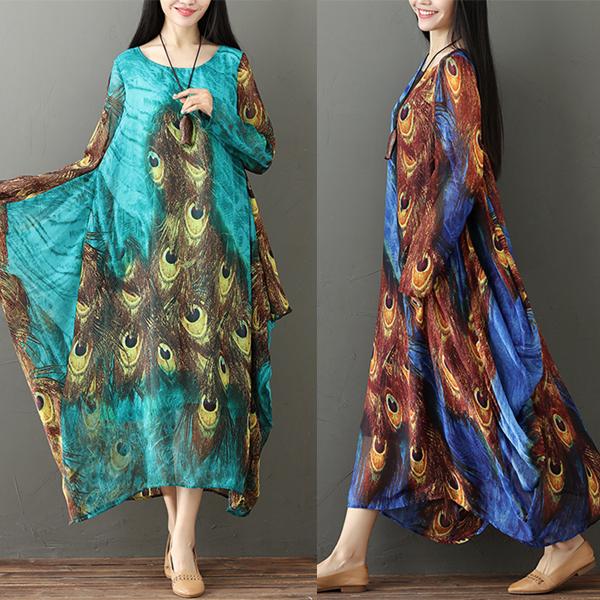 75110ba69c Hot saleGracila Ethnic Peacock Feather Print Flowy Long Sleeve Women ...