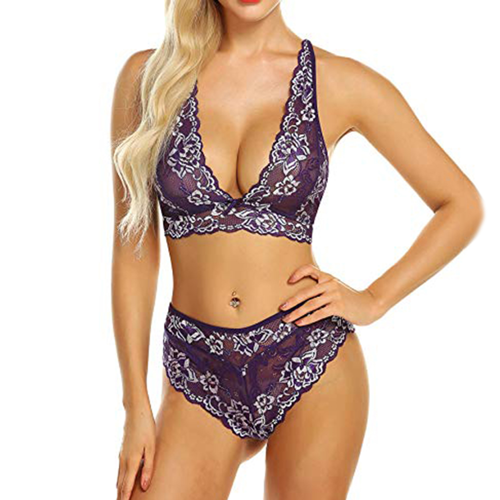 Embroidery Floral Bralette Set Lace Bra And Panty Outfit 81e2503ea