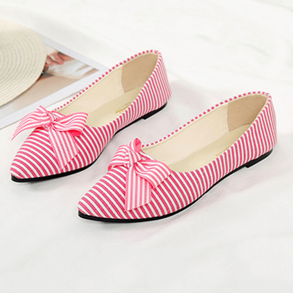 Cloth Striped Loafers For Women