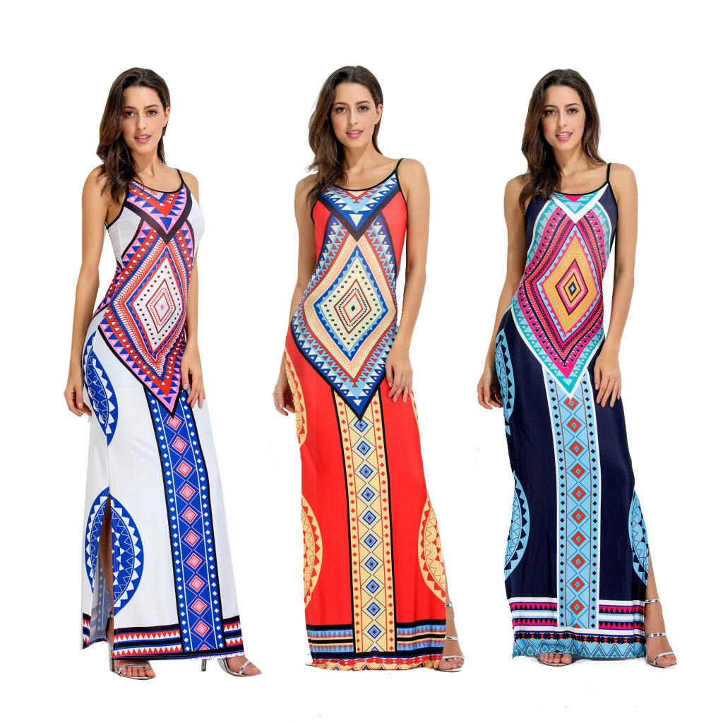 100 Backless Casual Maxi Dress Printed Long Sleeve Slit