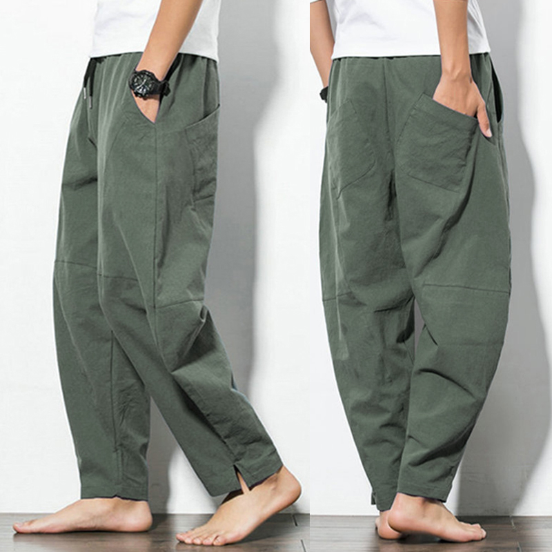 23022e2bbd ChArmkpR Mens Casual Baggy 100% Cotton Harem Pants Solid Color Loose ...
