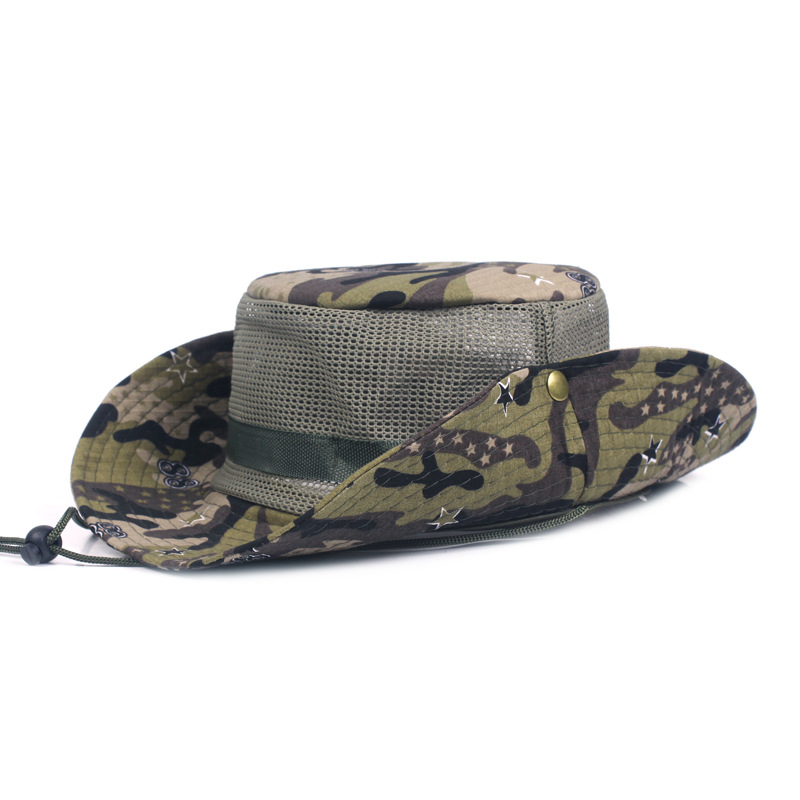 Men Summer Camouflage Mesh Bucket Hat With String Outdoor Sunshade ... d21e18da687
