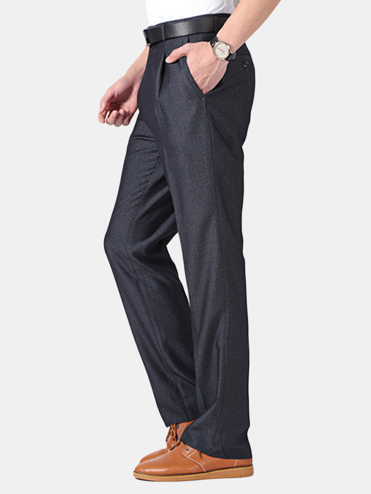 Mens Spring Summer Pleated Suit Pants Straight High Waist Business