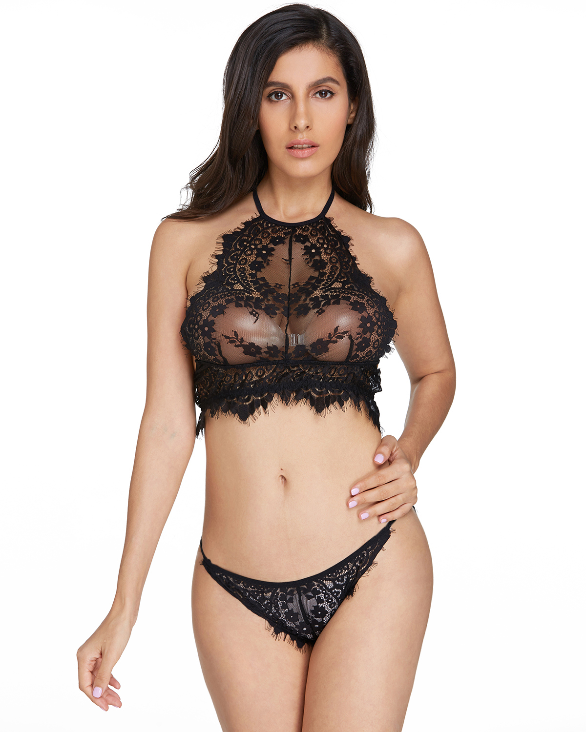 0701892fe896 Sexy KISSLACE Womens 2 Piece Floral Lace Underwear Halter Crop Top ...