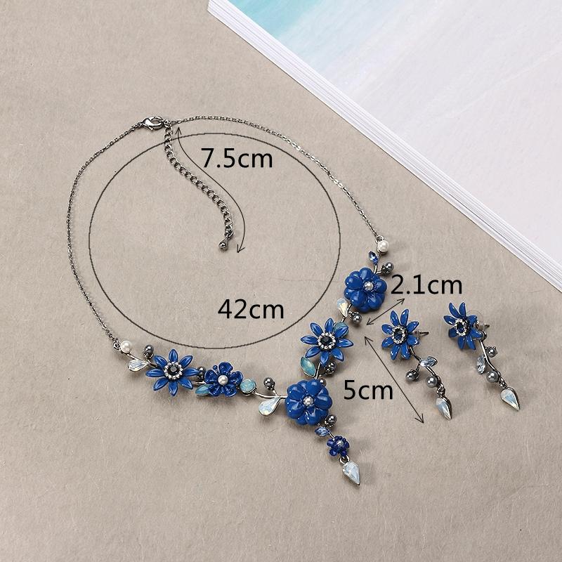 JASSY (MD) Ensemble de bijoux bleu royal élégant