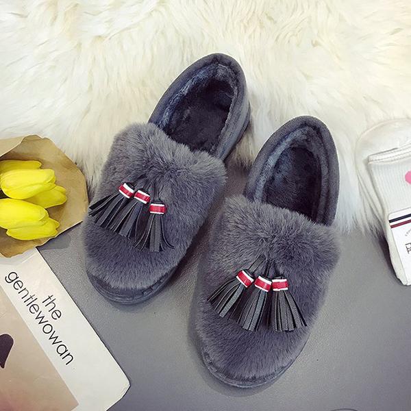 Bow Tassels Warm Flat Loafers