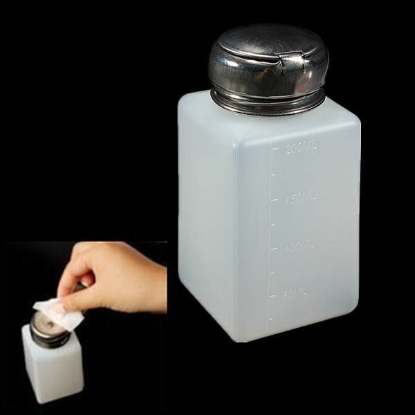200ml Empty Nail Polish Remover Liquid  Alcohol Press Pump Dispenser Bottle