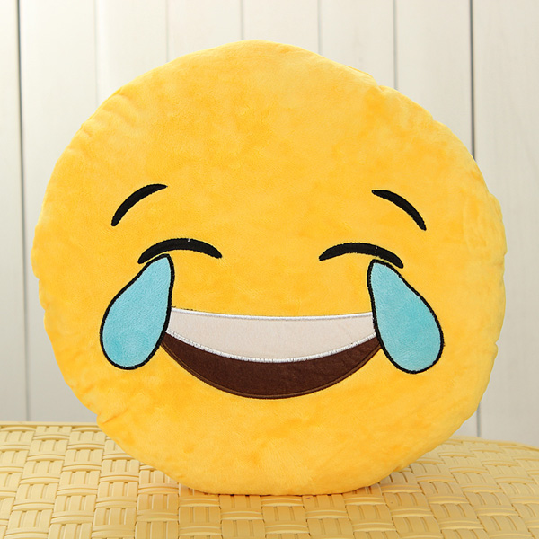 Emoji Smiley Emoticon Yellow Round Cushion Pillow Soft Toy